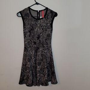 Eight Sixty Black Gray Abstract Print Dress